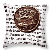 Pisces In A Sea Of Text Throw Pillow