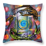 Pisces With Six Fence Lotus Throw Pillow