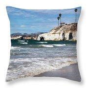 Pismo Beach Caves Throw Pillow