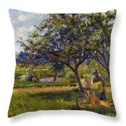 Pissarro: Wheelbarr., 1881 Throw Pillow
