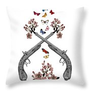 Pistols Wit Flowers And Butterflies Throw Pillow