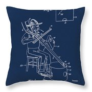 Pitch Fork Fiddle And Drum Patent 1936 - Blue Throw Pillow