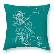 Pitch Fork Fiddle And Drum Patent 1936 - Green Throw Pillow