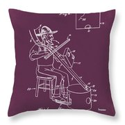 Pitch Fork Fiddle And Drum Patent 1936 - Red Throw Pillow