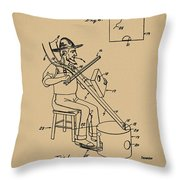 Pitch Fork Fiddle And Drum Patent 1936 - Sepia Throw Pillow