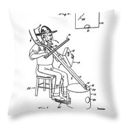 Pitch Fork Fiddle And Drum Patent 1936 - White Throw Pillow
