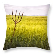 Pitch Fork In Wheat Field Throw Pillow
