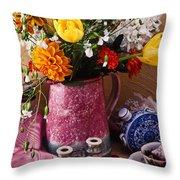 Pitcher Of Flowers Still Life Throw Pillow
