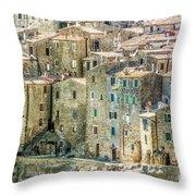 Pitigliano Houses Closeup Grosseto Tuscany Throw Pillow