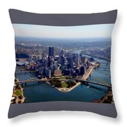 Pittsburgh Aerial Digital Painting Throw Pillow