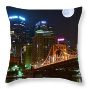 Pittsburgh Full Moon Panoramic Throw Pillow