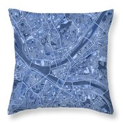 Pittsburgh Map Blue Throw Pillow