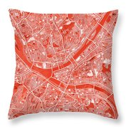 Pittsburgh Map Red Throw Pillow