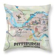 Pittsburgh Pennsylvania Fine Art Print Retro Vintage Map With Touristic Highlights Throw Pillow