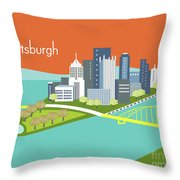 Pittsburgh Pennsylvania Horizontal Skyline - Orange Throw Pillow