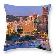 Pittsburgh Pennsylvania Skyline At Dusk Sunset Panorama Throw Pillow