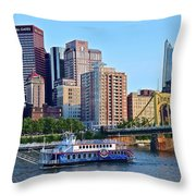 Pittsburgh River Cruise  Throw Pillow