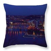 Pittsburgh Skyline At Night Christmas Time Throw Pillow