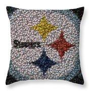 Pittsburgh Steelers  Bottle Cap Mosaic Throw Pillow by Paul Van Scott