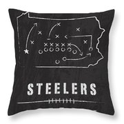 Pittsburgh Steelers Art - Nfl Football Wall Print Throw Pillow by Damon Gray