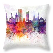 Pittsburgh V2 Skyline In Watercolor Background Throw Pillow