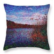 Pixel Lake Throw Pillow