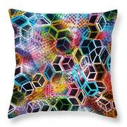 Pixelated Cubes Throw Pillow