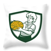 Pizza Chef Holding Pizza Shield Retro Throw Pillow
