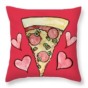Pizza Lovers Valentine Throw Pillow