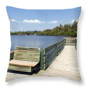 Place For Fishing Or Just Sitting At Round Island In Florida  Throw Pillow