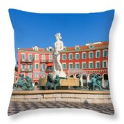 Place Massena Of Nice In France Throw Pillow