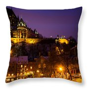 Place-royale At Twilight Quebec City Canada Throw Pillow