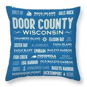 Places Of Door County On Blue Throw Pillow