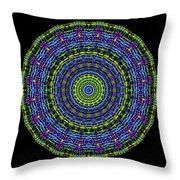 Plaid Wheel Mandala Throw Pillow