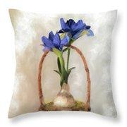 Plain Blue Iris Throw Pillow