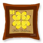 Plain Sulphur Butterfly Wheel Throw Pillow