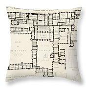 Plan Of Principal Floor Of Hampton Throw Pillow