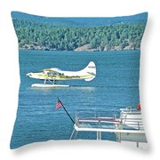 Plane Coming Into Friday Harbor On San Juan Island, Washington Throw Pillow