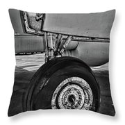 Plane - Landing Gear In Black And White Throw Pillow