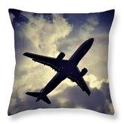 Plane Landing In London Throw Pillow