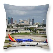 Planes By Fort Lauderdale Throw Pillow