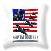 Planes -- Keep 'em Rolling Throw Pillow