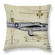 Planes Of Fame A-59 Airacomet - Profile Throw Pillow