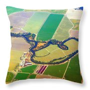 Planet Art Colorful  Midwest Aerial Throw Pillow