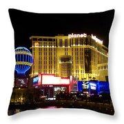 Planet Hollywood By Night Throw Pillow