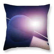 Planet Saturn Sunrise Throw Pillow