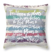 Plans I Have For You Stripes Throw Pillow