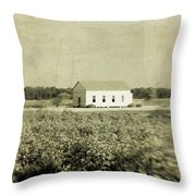 Plantation Church - Sepia Texture Throw Pillow