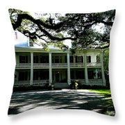 Plantation Framed By Live Oaks Throw Pillow