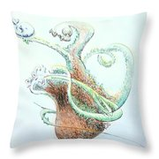 Planter With Whale Throw Pillow